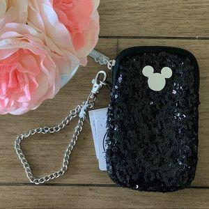Disney Parks Black Sequin Phone Case wristlet